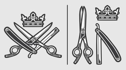 Scissors Razor Crown Logo Emblem