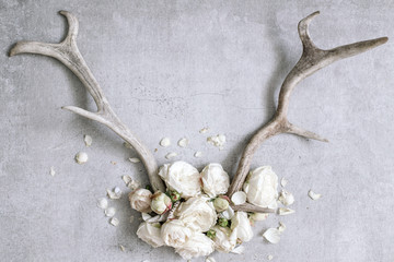 Antlers with white peonies