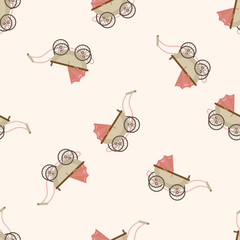 Baby carriages , cartoon seamless pattern background