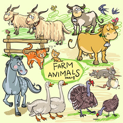 Farm animals, hand drawn collection, part 1.