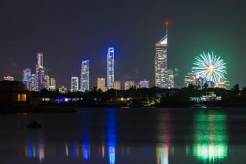 Fireworks in modern city - Gold Coast Australia