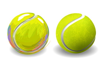 Tennis Ball isolated on white background. All elements are in separate layers and grouped.