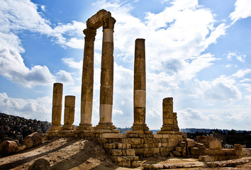 Amman Citadel ruins with cloudy sky in Jordan