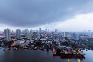 Top view bangkok city with raining day.