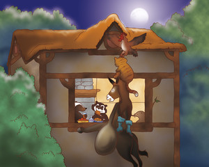 A donkey, a dog, a rooster and a cat are looking in a house. Digital illustration of the Grimm's fairy tale: Bremen town musicians.