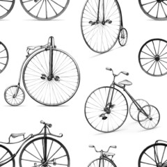 Pencil drawing of retro bicycle. Seamless pattern
