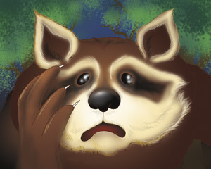 Scared raccoon by night. Digital illustration of the Grimm's fairy tale: bremen town musicians.