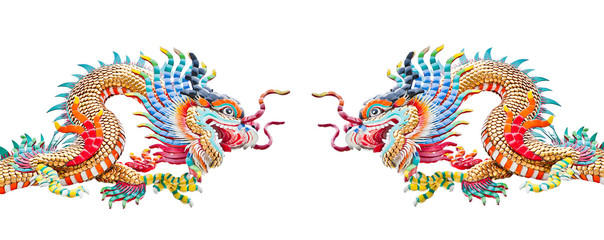 Chinese dragons isolated on white