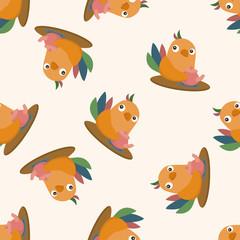 animal bird having afternoon tea , cartoon seamless pattern background