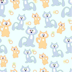 Blue cats and beige to green background. Pattern. Vector illustration