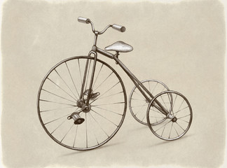 Pencil drawing of retro bicycle