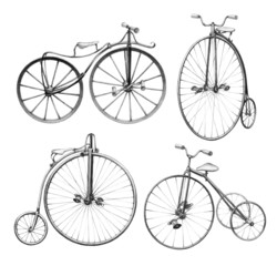 Pencil drawing of retro bicycles