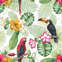Watercolor toucan and parrot. Seamless pattern