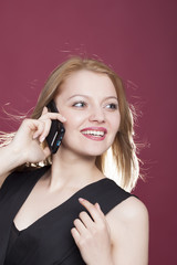 beautiful woman with phone