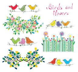 Floral design elements and birds set