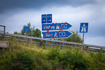 Abzweig Gesperrt Autobahn Geschlossen