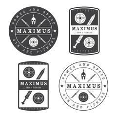 Set of gym logo in vintage style