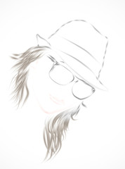 Sketch portrait of the girl in a hat and sunglasses