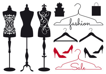 Fashion mannequins, vector set Wall mural