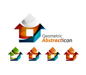 Set of abstract geometric company logo home, house, building