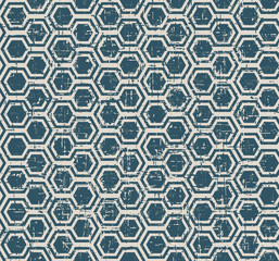 Seamless vintage worn out blue polygon geometry pattern background.