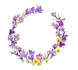 Circle frame from violets and yellow crocus flowers. Watercolor hand drawn illustration