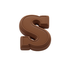 Chocolate letter S. Sweet candy font for celebration. Made in 3D.