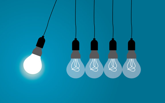 Perpetual motion with light bulbs. Idea concept on blue background, Vector