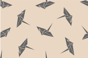 Paper origami cranes, seamless pattern