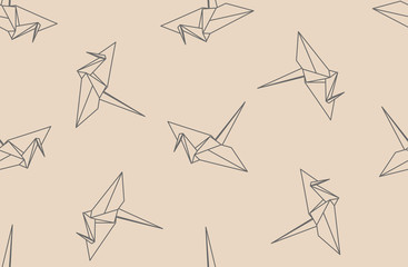 Linear paper cranes, seamless origami pattern