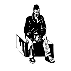 seated Man;a man sitting on a cube