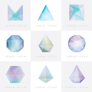 premium collection set of trendy soft mesh facet crystal gem geometric logo icons