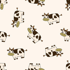 animal cow cartoon , cartoon seamless pattern background