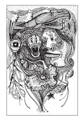 Abstract faces ghosts  Hand drawn style.Vector illustration.
