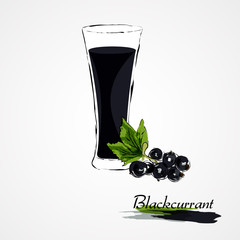 Hand drawn vector blackcurrant fruit and juice in glass on light background