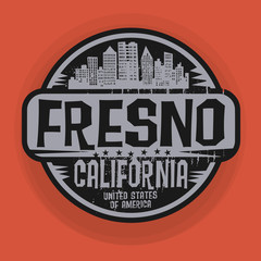 Stamp or label with name of Fresno, California