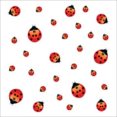 Vector seamless pattern background With ladybugs
