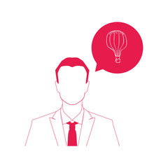Businessman and colorful vintage air balloon icon