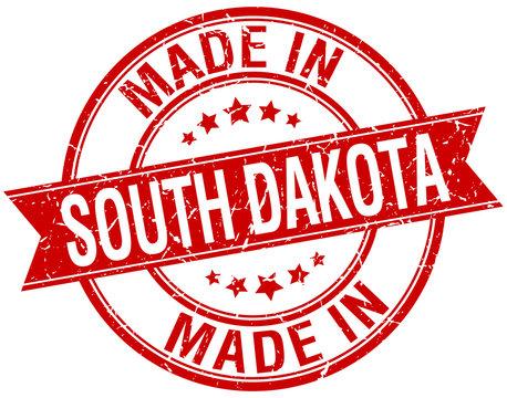 made in South Dakota red round vintage stamp
