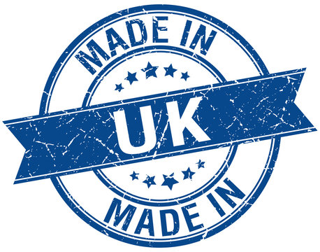 made in uk blue round vintage stamp