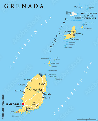 Grenada political map with capital St Georges Island Country and
