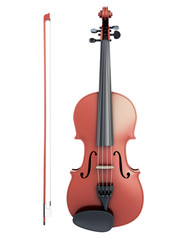 Violin and fiddlestick front view
