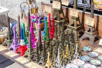 Eiffel tower statuettes in Paris, France