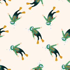 diver , cartoon seamless pattern background