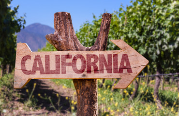 California wooden sign with winery background