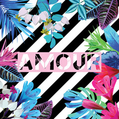 Tropical exotic floral striped print