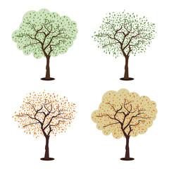 stylized vector tree set isolated on white background