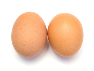 Two eggs on a white background