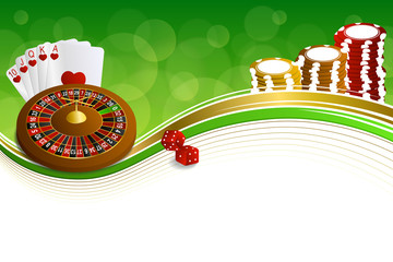 Background abstract green gold casino roulette cards chips craps
