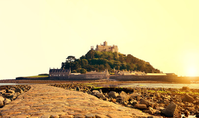St Michael's Mount in the sunset , Cornwall, UK